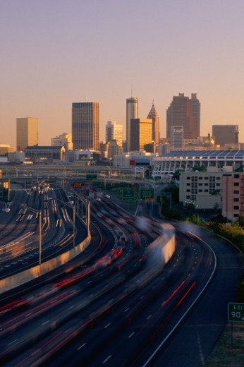 Rush hour traffic with Atlanta beyond : Stock Photo