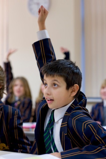 Boy with his arm raised  in a classroom : Stock Photo