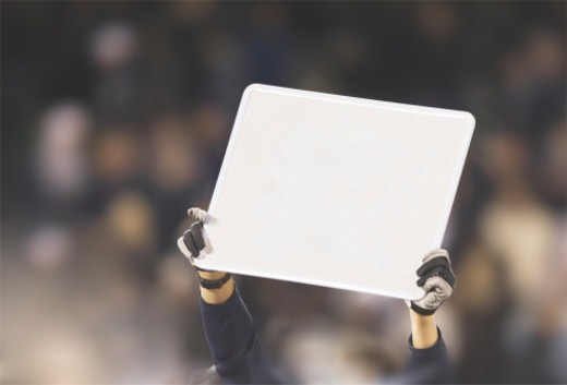 Stock Photo: 1527R-1207079 Person holding up blank sign.