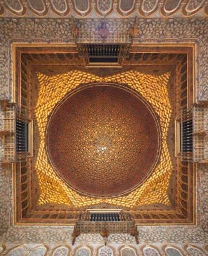 Alcazar of Seville: ceiling in Ambassadors' Hall (Salón de Embajadores). : Stock Photo