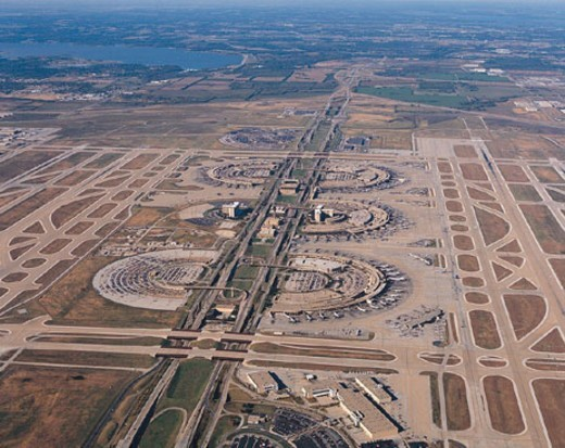 Aerial view of an airport : Stock Photo