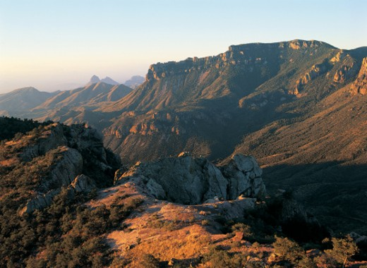 Lost Mine Trail at sunrise, Big Bend National Park, Texas, USA : Stock Photo