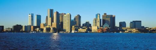 Boston skyline in sunshine : Stock Photo