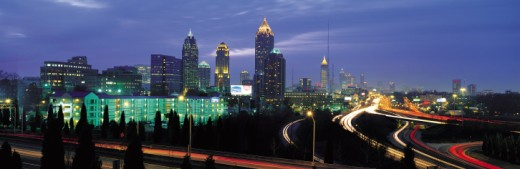 Stock Photo: 1527R-248026 Highways surrounding Atlanta at dusk