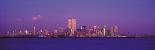 Manhattan skyline at dusk : Stock Photo