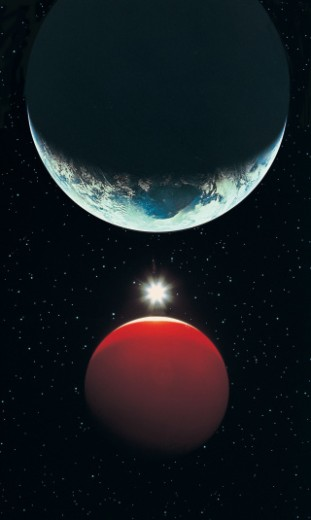 Stock Photo: 1527R-25023 Earth, Red Planet and Sun