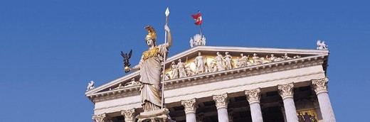 Pallas Athene Fountain and Parliament, Vienna, Austria : Stock Photo