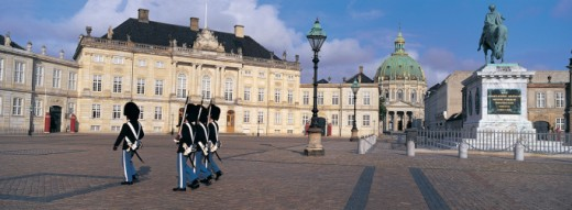 Stock Photo: 1527R-275036 Changing of the Amalien Palace Guard, Copenhagen, Denmark