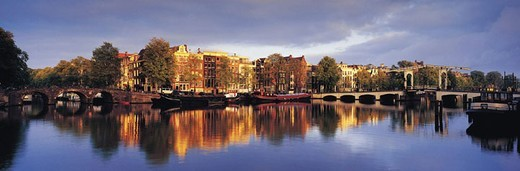 Stock Photo: 1527R-275067 Amstel River and Magere Brug Bridge, Amsterdam, Holland