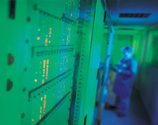 Stock Photo: 1527R-290046 Man monitoring nerve center