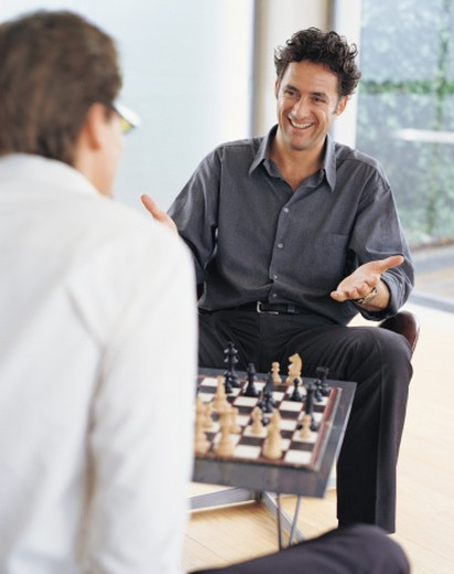 Two Men Playing Chess : Stock Photo