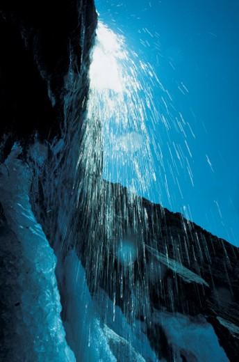 Water falling over rocky ledge, Baffin Island, Canada, North America : Stock Photo