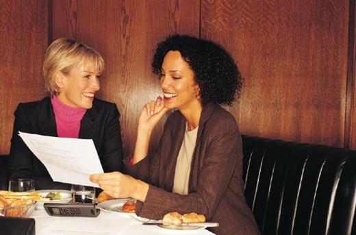 Stock Photo: 1527R-306010 Two businesswomen having lunch meeting