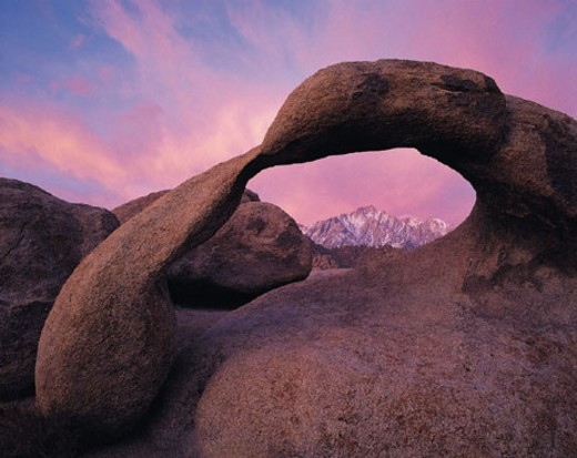 Stock Photo: 1527R-312052 Natural arch and lone pine peak, Alabama Hills, East