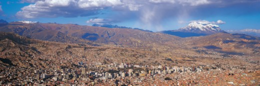 La Paz and Illimani, Bolivia : Stock Photo