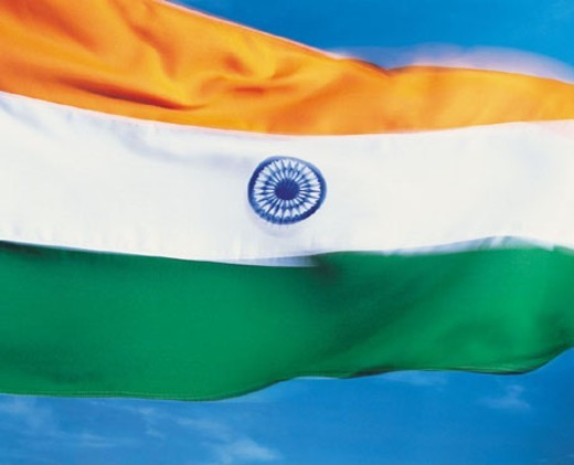 Stock Photo: 1527R-47033 Closeup of flag of India
