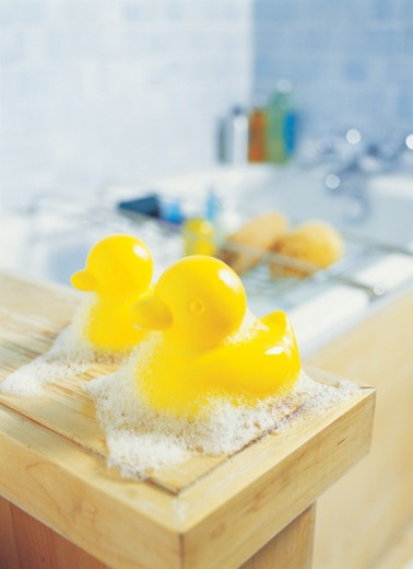 Close-Up of Two Rubber Ducks in a Bathroom : Stock Photo
