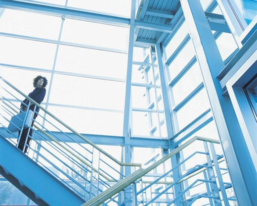 Stock Photo: 1527R-570047 African-American Standing on a Staircase With a Briefcase