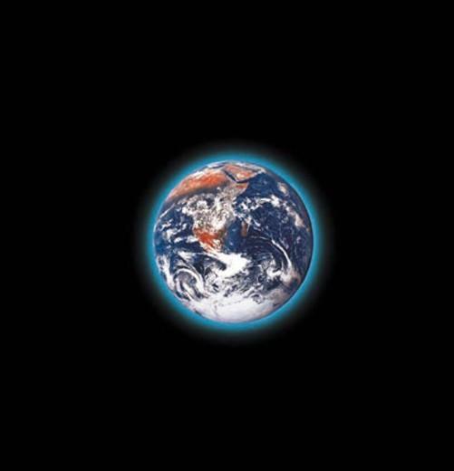 Stock Photo: 1527R-6096 Earth with Blue Corona