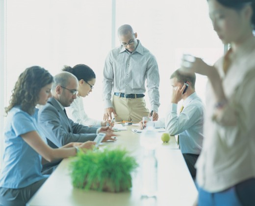 Six Business Executives in a Meeting in a Conference Room : Stock Photo