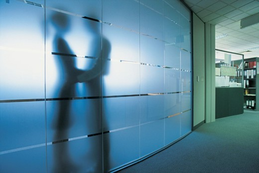 Silhouettes of a Businessman and a Businesswoman Holding Hands in An office Behind a Frosted Glass Window : Stock Photo