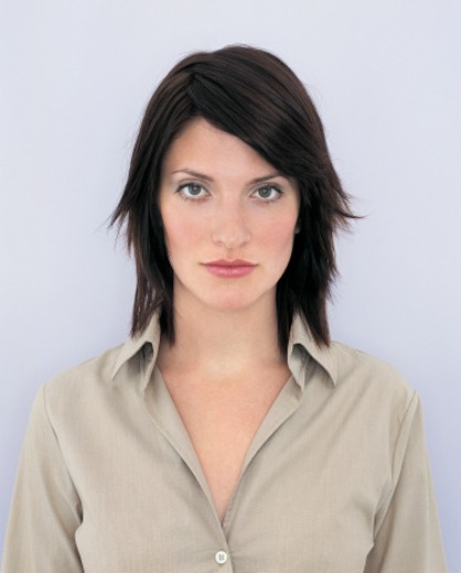 Stock Photo: 1527R-671063 Portrait of a Young Businesswoman With Long, Brown Hair