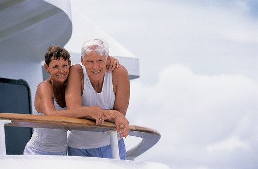 Portrait of a Senior Couple together on the Deck of a Cruise Liner : Stock Photo