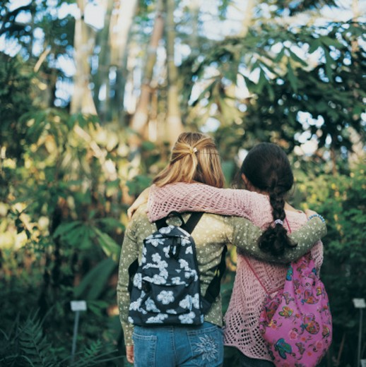 Rear View of Two Primary School Girls With their Arms Around Each Other on a Field Trip in a Botanical Garden : Stock Photo