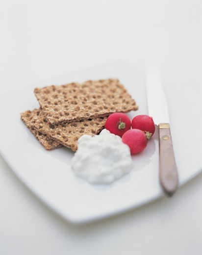 Stock Photo: 1527R-714083 Crispbread, Cottage Cheese and Radishes on a Plate