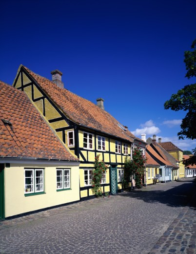 Stock Photo: 153-940G Houses along a cobblestone street, Aero Island, Denmark