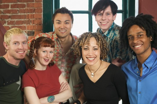 Six young colleagues in a loft-style office. : Stock Photo