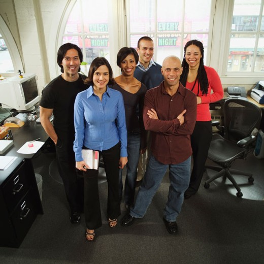 Stock Photo: 1530R-16052 Group portrait of six business colleagues.
