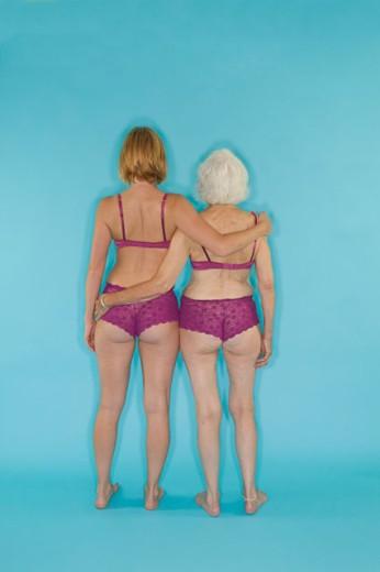 Two women modeling lingerie : Stock Photo