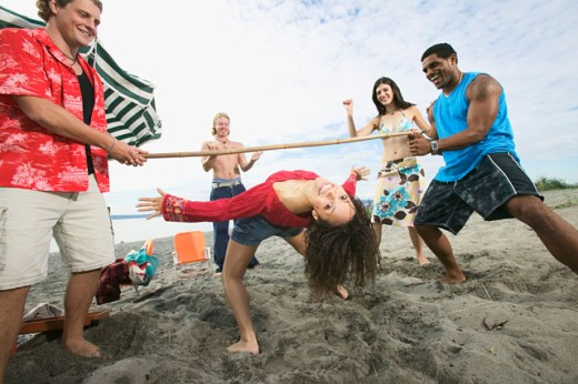 Stock Photo: 1530R-27023 People at a beach party