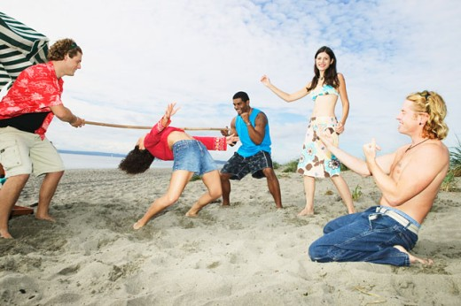 People at a beach party : Stock Photo