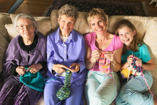 Stock Photo: 1530R-28021 Four generations of females knitting