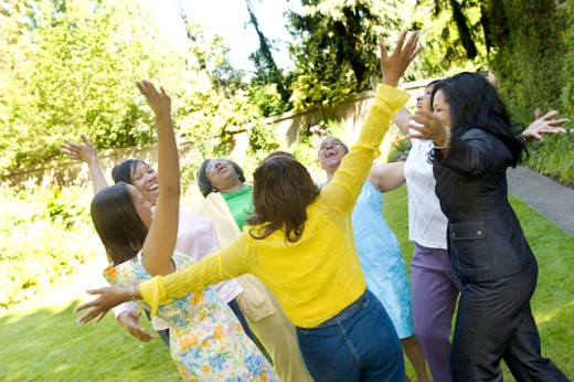 Enthusiastic females outdoors : Stock Photo