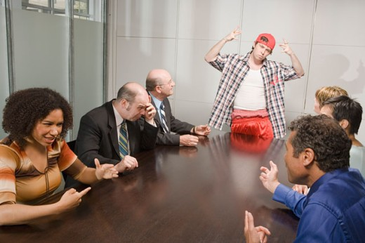 Stock Photo: 1530R-35187 Weird co-worker at a meeting
