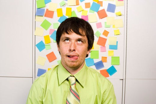Office worker making a silly face : Stock Photo