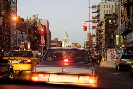 Cars in traffic, New York City : Stock Photo
