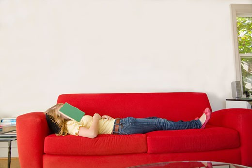 Stock Photo: 1530R-39030 Teenage girl with book over face