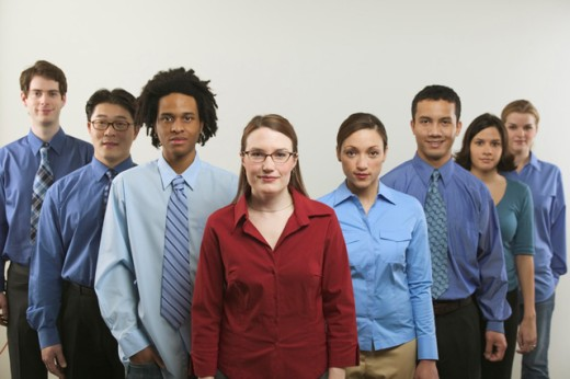 Portrait of eight young business people.     : Stock Photo