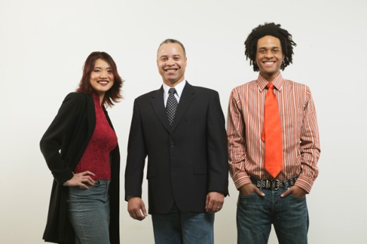 Stock Photo: 1530R-4012 Studio portrait of three business colleagues.