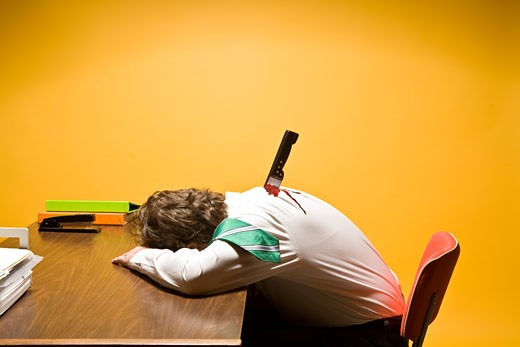 Stock Photo: 1530R-40393 Deceased man in office stabbed in the back