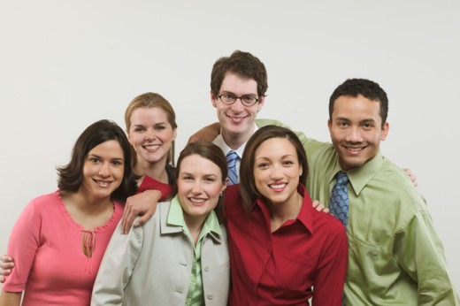 Stock Photo: 1530R-4050 Portrait of six young business colleagues.