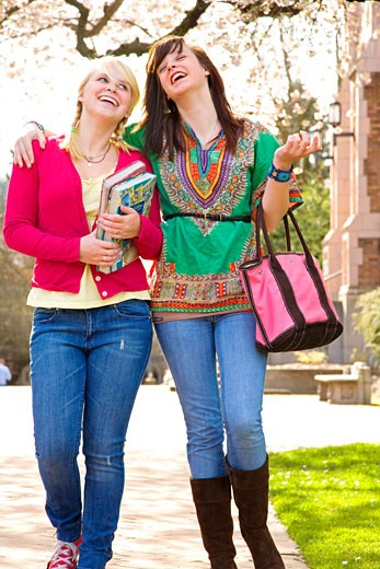 Teen girls on college campus : Stock Photo