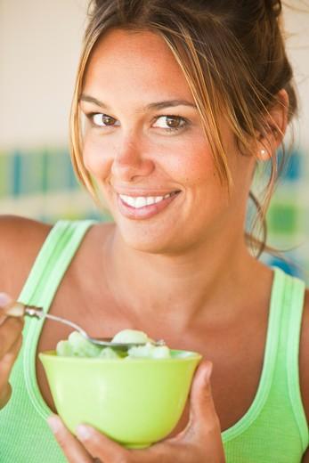 woman eating ice cream : Stock Photo