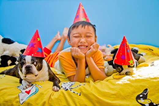 Stock Photo: 1530R-41548 festive boy and dog on bed