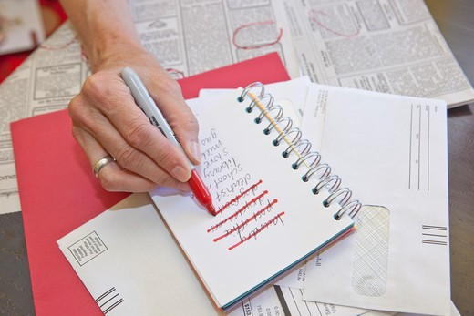 Stock Photo: 1530R-41696 Woman making list in small notebook,