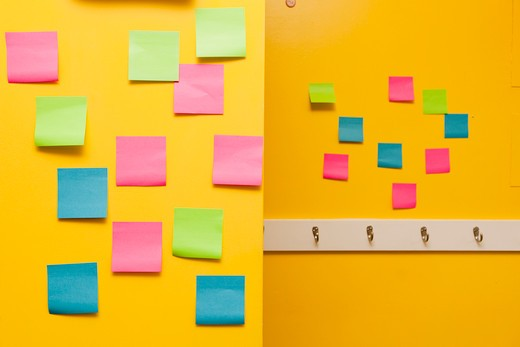 Stock Photo: 1530R-41756 Yellow wall with colorful post-its,